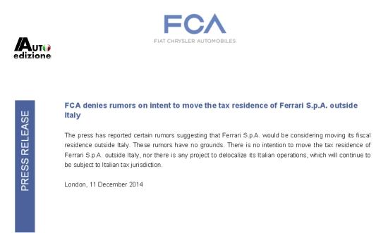 FCA denies