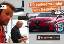 Alfa-praat bij Traffic Radio even voor presentatie Giulia